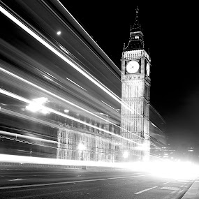 by James Blyth Currie - Buildings & Architecture Public & Historical ( bus, london, cars, westminster, night, lighttrails, big ben, people, evening )