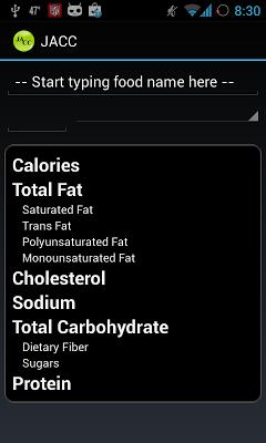 Carb/Calorie Counter - screenshot