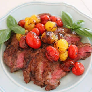 Skillet Skirt Steak with Balsamic Cherry Tomatoes.