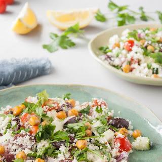 Mediterranean Cauliflower Couscous Salad with Roasted Chickpeas & Lemon Dressing.