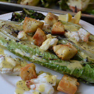 Grilled Hearts of Romaine with Crab and Lemon Poppy Seed Dressing