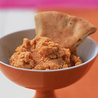 Spiced Red Lentil Dip with Pita Crisps.