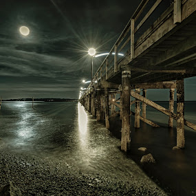 Draped by a Full Moon by Garry Dosa - Buildings & Architecture Bridges & Suspended Structures ( water, moon, blue, 2014, august, night, ocean, beach, evening,  )