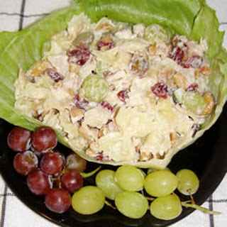 Chicken Pasta Salad with Cashews and Dried Cranberries.