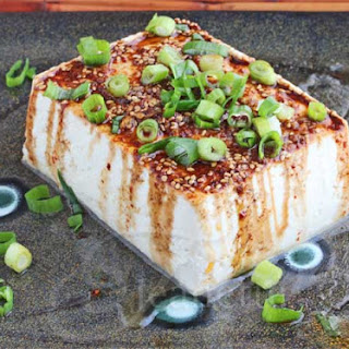 Warm Tofu with Spicy Garlic Soy Sesame Sauce.