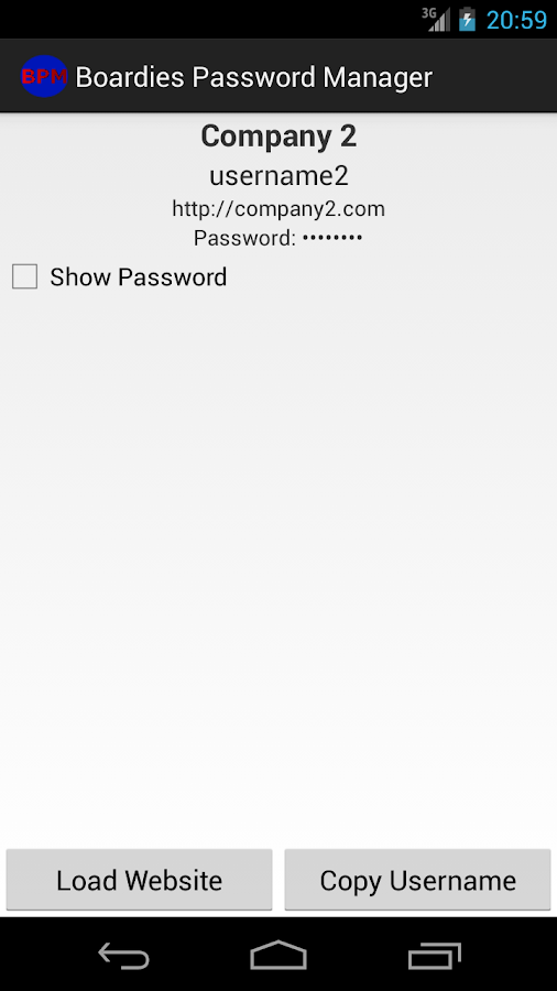 Boardies Password Manager- screenshot