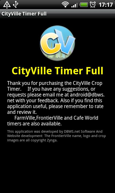 CItyVille Crop Timer Free - screenshot