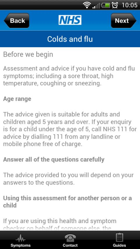 NHS Health and Symptom checker- screenshot