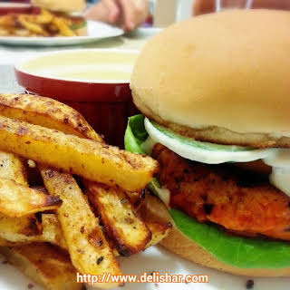 Buffalo Chicken Burger with Homemade Ranch Dressing.