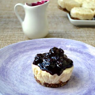 Lemon Cheesecake with Blueberry Sauce.