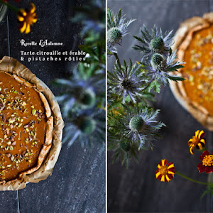 Pumpkin Maple Pie Topped with Roasted Pistachios