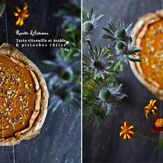 Pumpkin Maple Pie Topped with Roasted Pistachios.