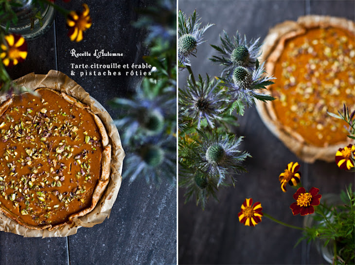 Pumpkin Maple Pie Topped with Roasted Pistachios Recipe