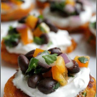 Sweet Potato Cakes with Black Bean Salsa.