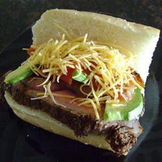 Carne Asada Steak Sandwich with Avocado Salad.
