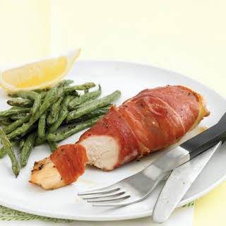 Prosciutto-Wrapped Chicken Breast with Roasted Green Beans.