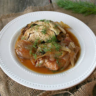 Slow Cooked Pork Chops with Cabbage, and Fennel.