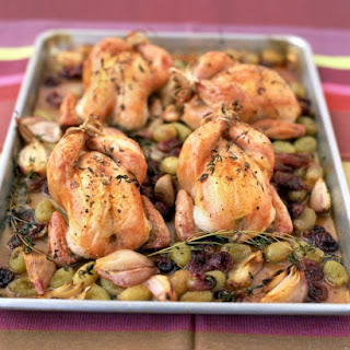 Roasted Cornish Hen and Grapes
