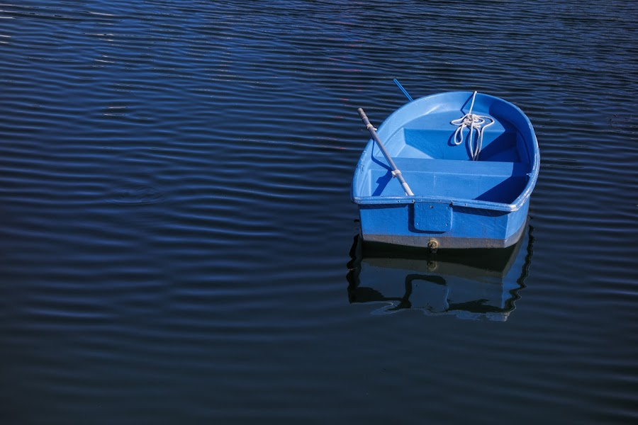 Blue by David Stone - Transportation Boats ( bearskin neck, water, blue boat, blue water, rowboat, rockport,  )