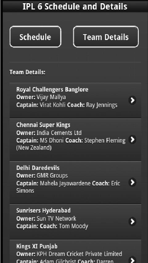 IPL6 Schedule - screenshot
