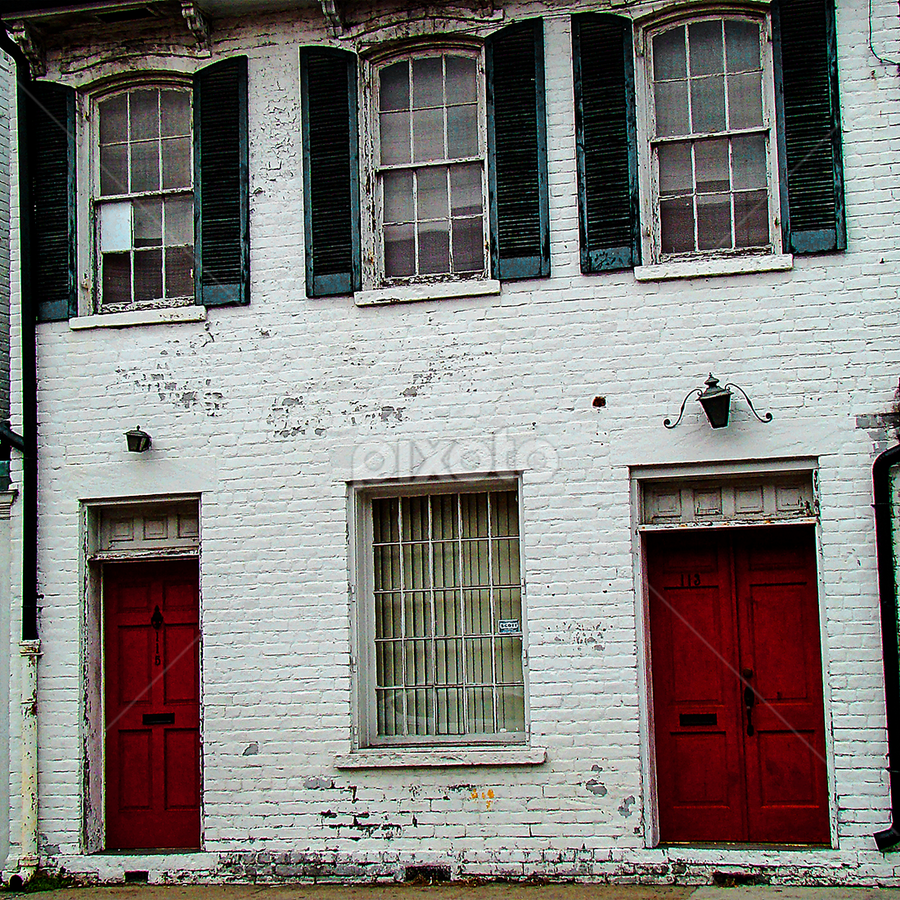 savannah red doors by Lennie L. - Buildings & Architecture Other Exteriors ( red, white, pwc87,  )