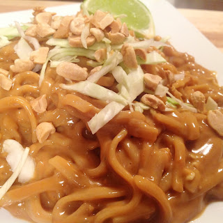 Cold Rice Noodles in Spicy Thai Peanut Sauce.