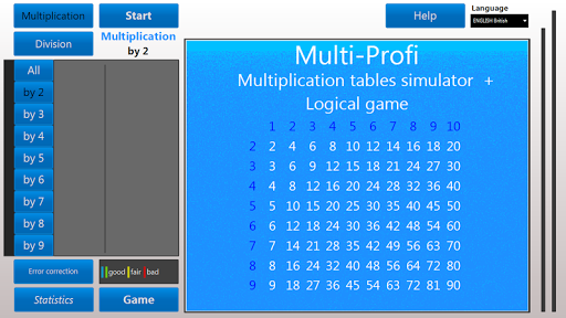 Multiplication tables trainer