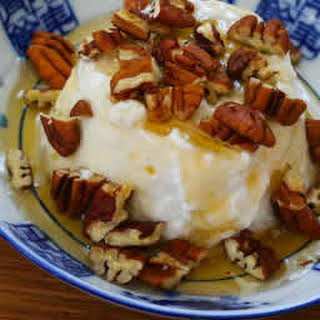 Greek Yogurt with Agave Nectar and Pecans.