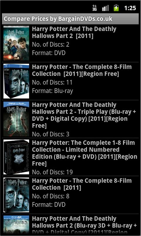 Compare DVD or Blu-ray Prices - screenshot