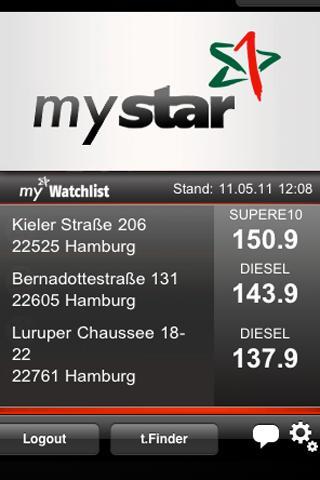 mystar ToGo Kraftstoffpreise - screenshot