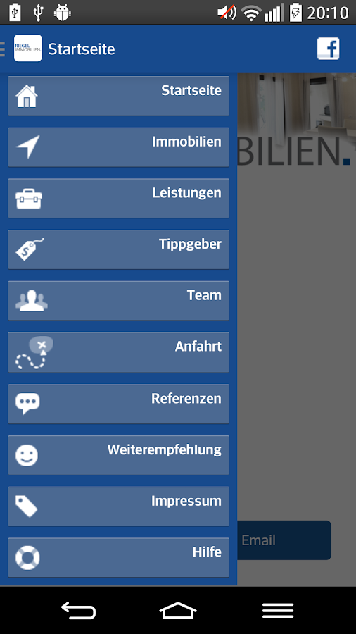 RIEGEL Immobilien – Screenshot