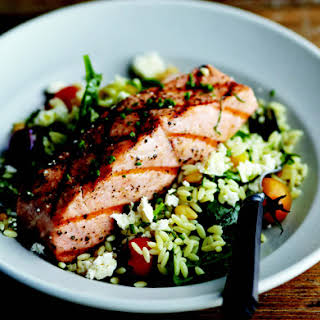 Grilled Salmon with Orzo, Feta, and Red Wine Vinaigrette.