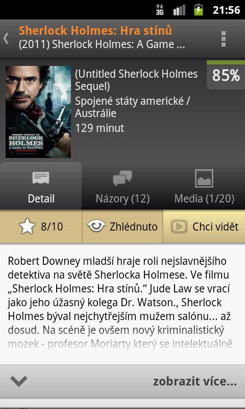 FDb.cz + Program kin a TV – snímek obrazovky