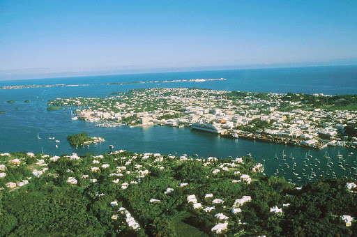 An aerial view of popular Hamilton Harbor in Bermuda. Several cruise lines make stops here.