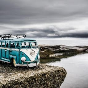 Kombi on the rocks by Howard Ferrier - Artistic Objects Toys ( hdr, sea, ocean, caloundra, storm, coast, volkswagen, vw, toy, surfboard, weather, rocks, kombi )