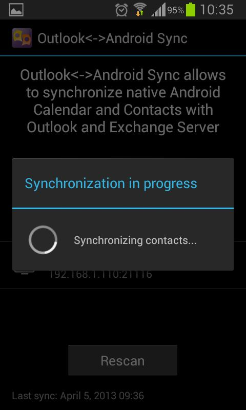 Outlook<->Android Sync - screenshot