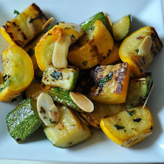 Zucchini and Summer Squash with Chili, Mint and Toasted Almonds.
