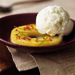 Chile-Lime Pineapple with Cardamom-Lime Ice Cream.