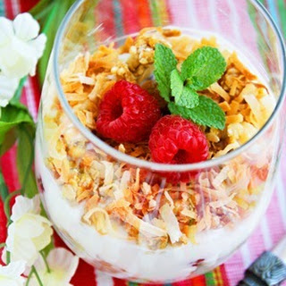Coconut Granola, Yogurt and Fruit Parfaits.