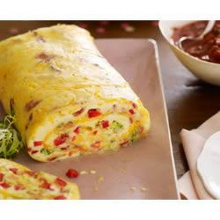 Bacon Omelette Roll with Salsa.