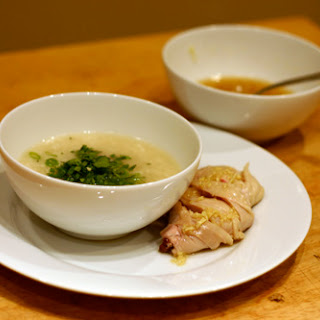 Chicken and Rice Soup with Ginger Dipping Sauce