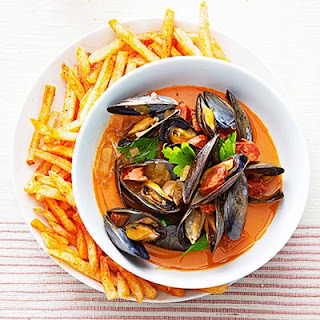 Spanish Mussels With Paprika Fries.
