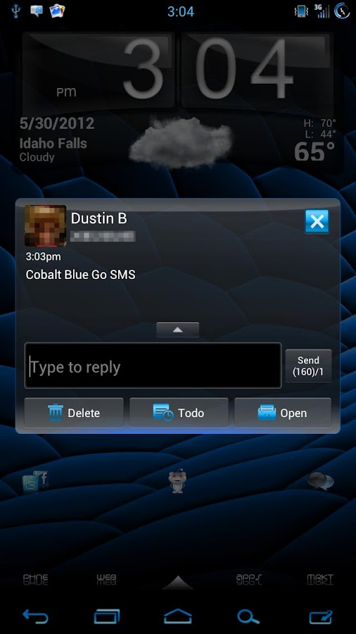 GO SMS Pro Cobalt Blue Theme- screenshot