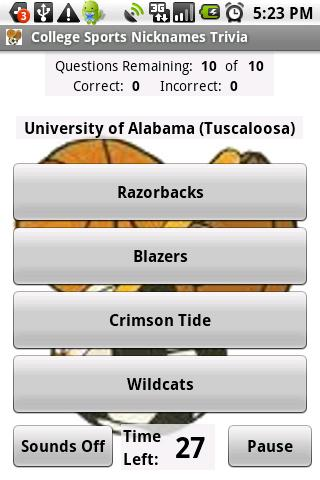 College Sports Nicknames Quiz - screenshot