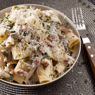 Pasta With a Mushroom and Bacon Cream Sauce.