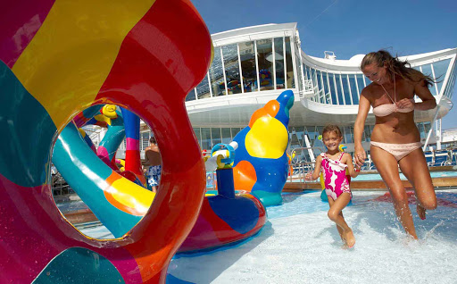 Oasis-of-the-Seas-H2O-Zone-mom-daughter - Aboard Oasis of the Seas the whole family can join in the fun by splashing around in its large H20 Zone Aqua Park.