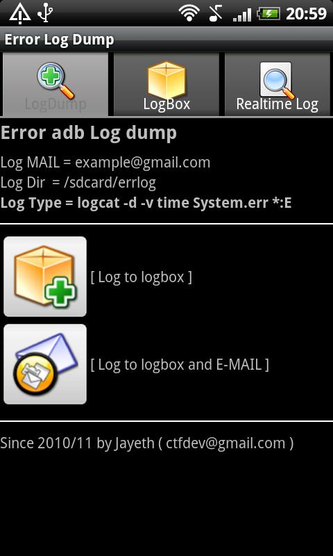 Error adb logcat log dump - screenshot
