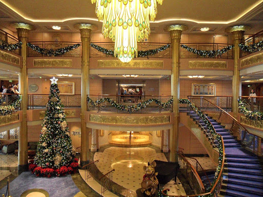 Disney-Fantasy-atrium-lobby - The atrium lobby on Disney Fantasy during Christmastime.