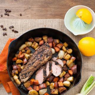 Coffee-Rubbed Pork Tenderloin with Orange Glazed Root Vegetables