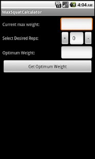 Max Squat Calculator - screenshot thumbnail